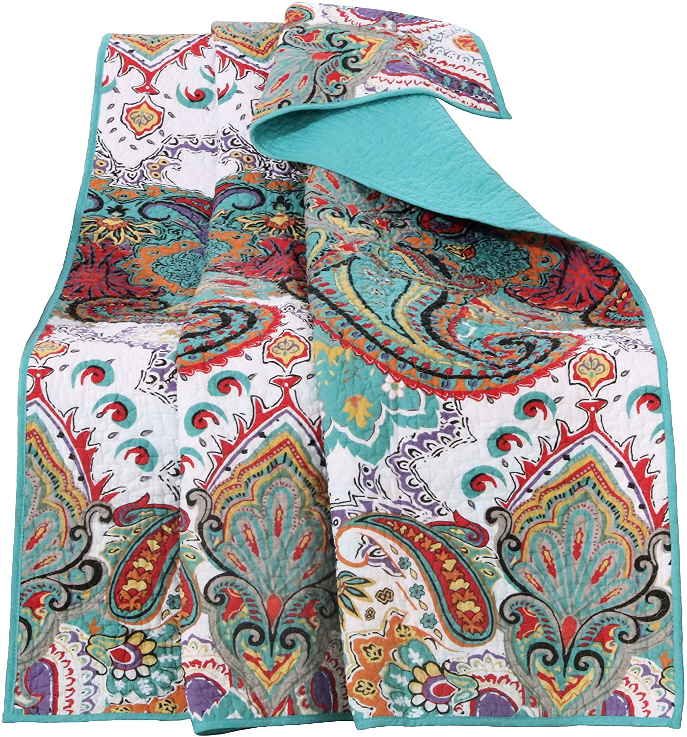 Greenland Home Nirvana 100% Cotton Quilted Throw Blanket, Teal