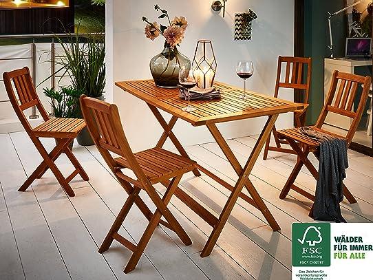 SAM® Salon de jardin Costas, 5 pièces, en bois d\'acacia, 1 x table ...