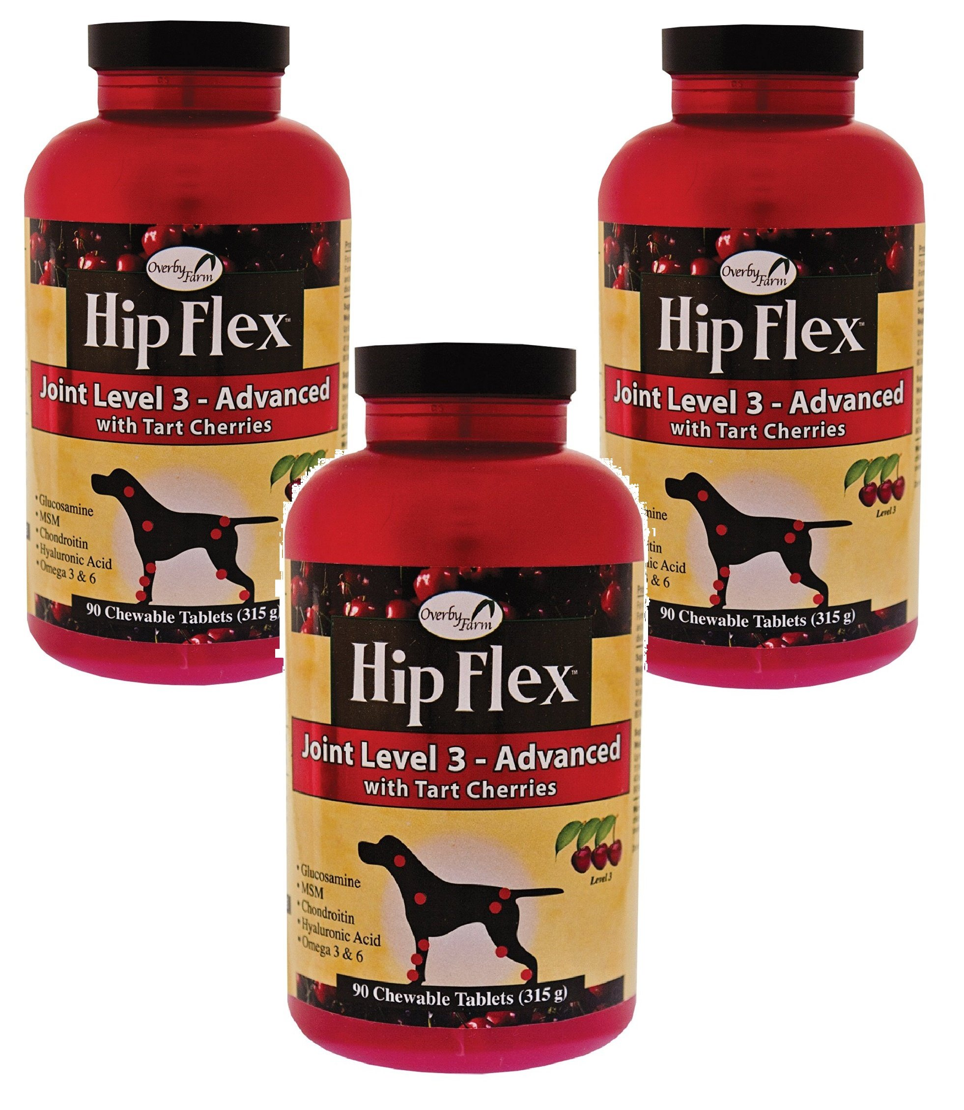 270-Count Overby Farm Hip Flex Joint Level 3 Advanced Care with Tart Cherries (Chewable Tablets) for Dogs (3 Bottles with 90 Tablets Each)