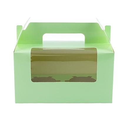 10 cajas verdes para transportar 2 magdalenas decoradas, con ventana y asa