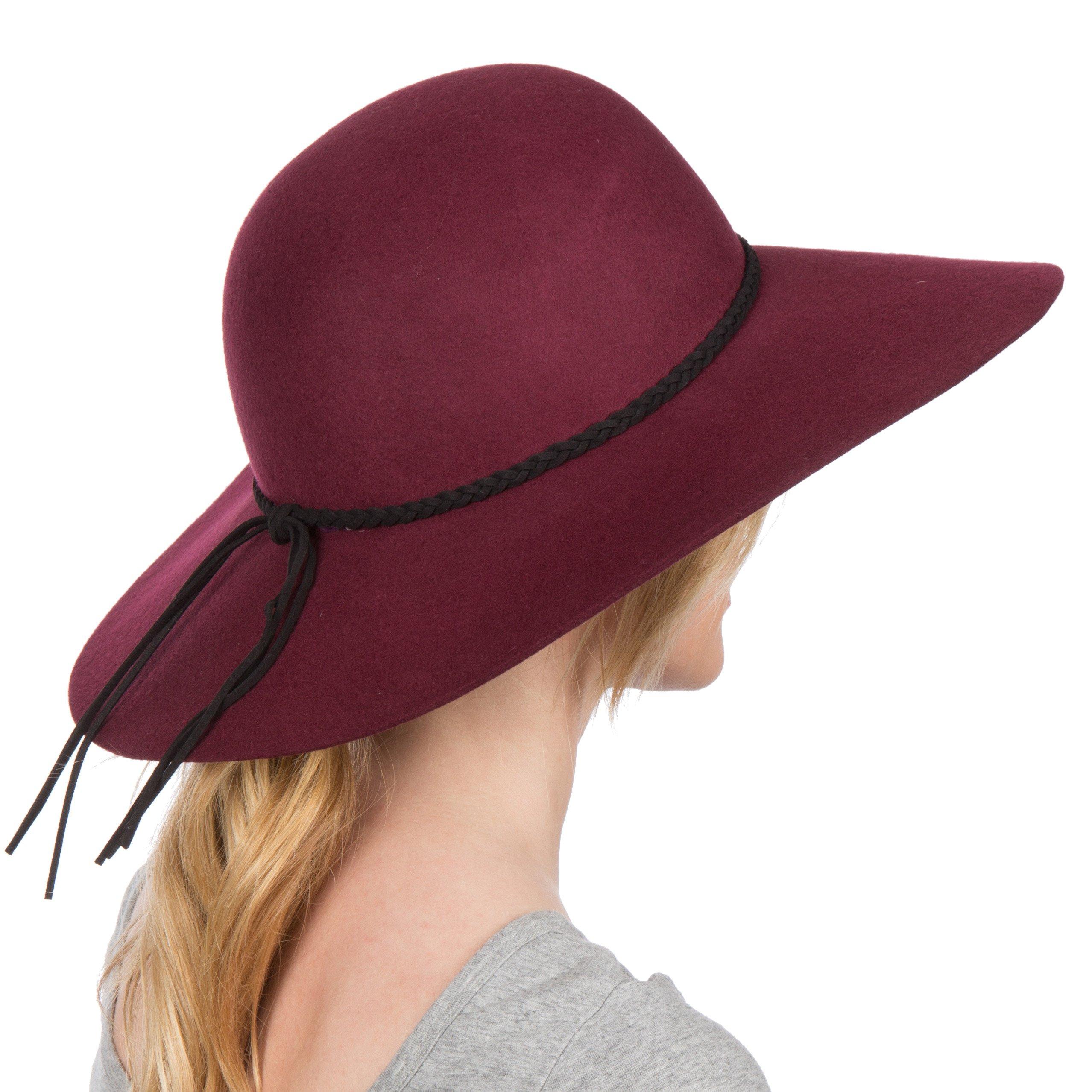 Sakkas 2041SS Greta Vintage Style Wool Floppy Hat - Burgundy - One Size by Sakkas (Image #2)