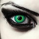 """Designlenses Gift farbige Kontaktlinsen für Halloween Karneval""""Green Elfe"""" + gratis Behälter, grün, Ohne Sehstärke, 2 Stück"""