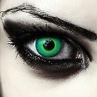 Designlenses, twee groen gekleurde zombie halloween carnaval kostuum contact lenzen zonder dioptrieën, gratis lenshouder…