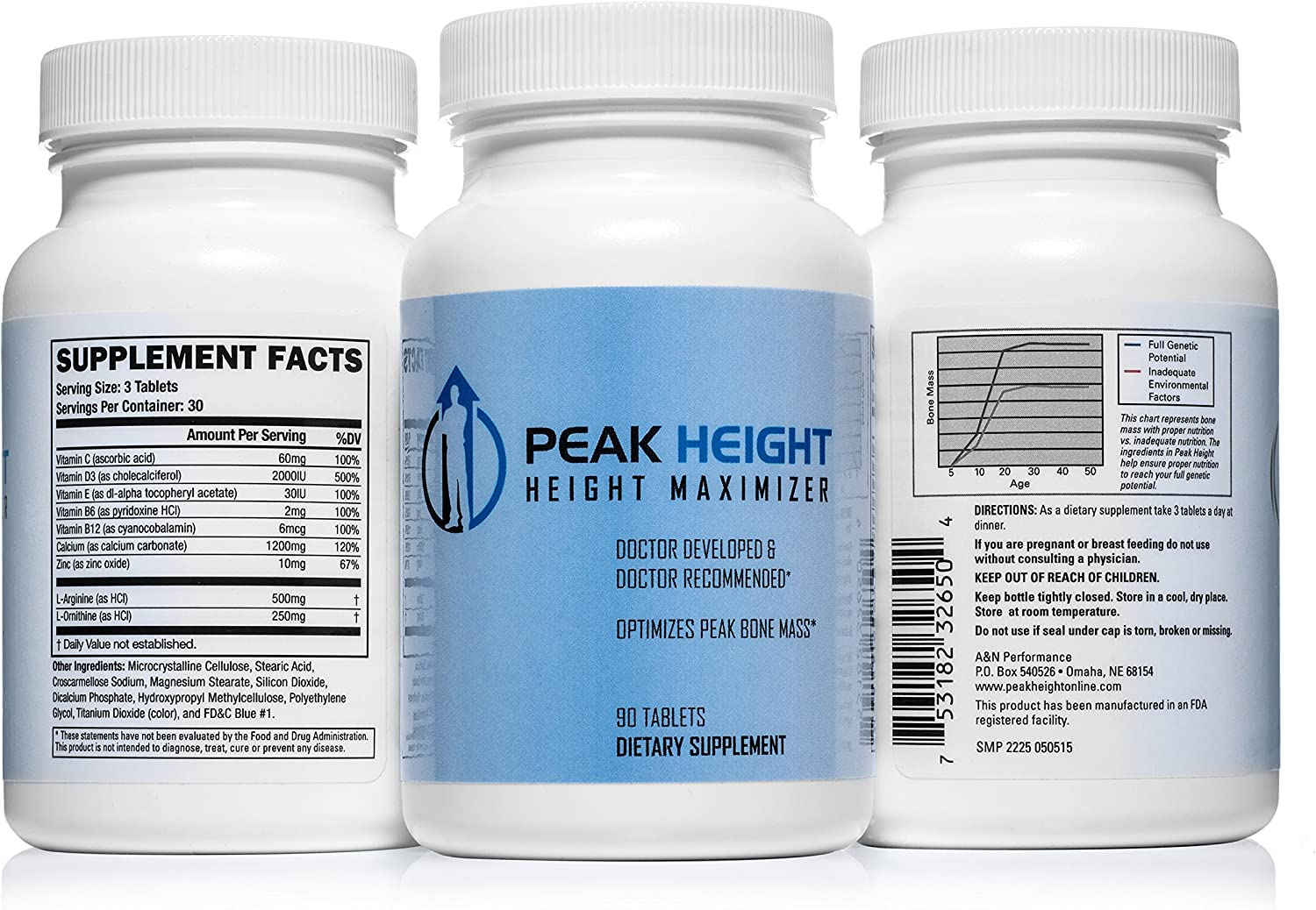 Amazon Com 1 Grow Taller Height Pill Supplement Peak Height 6 Month Supply Height Supplement Doctor Recommended 90 Tablets Pack Of 6 Health Personal Care