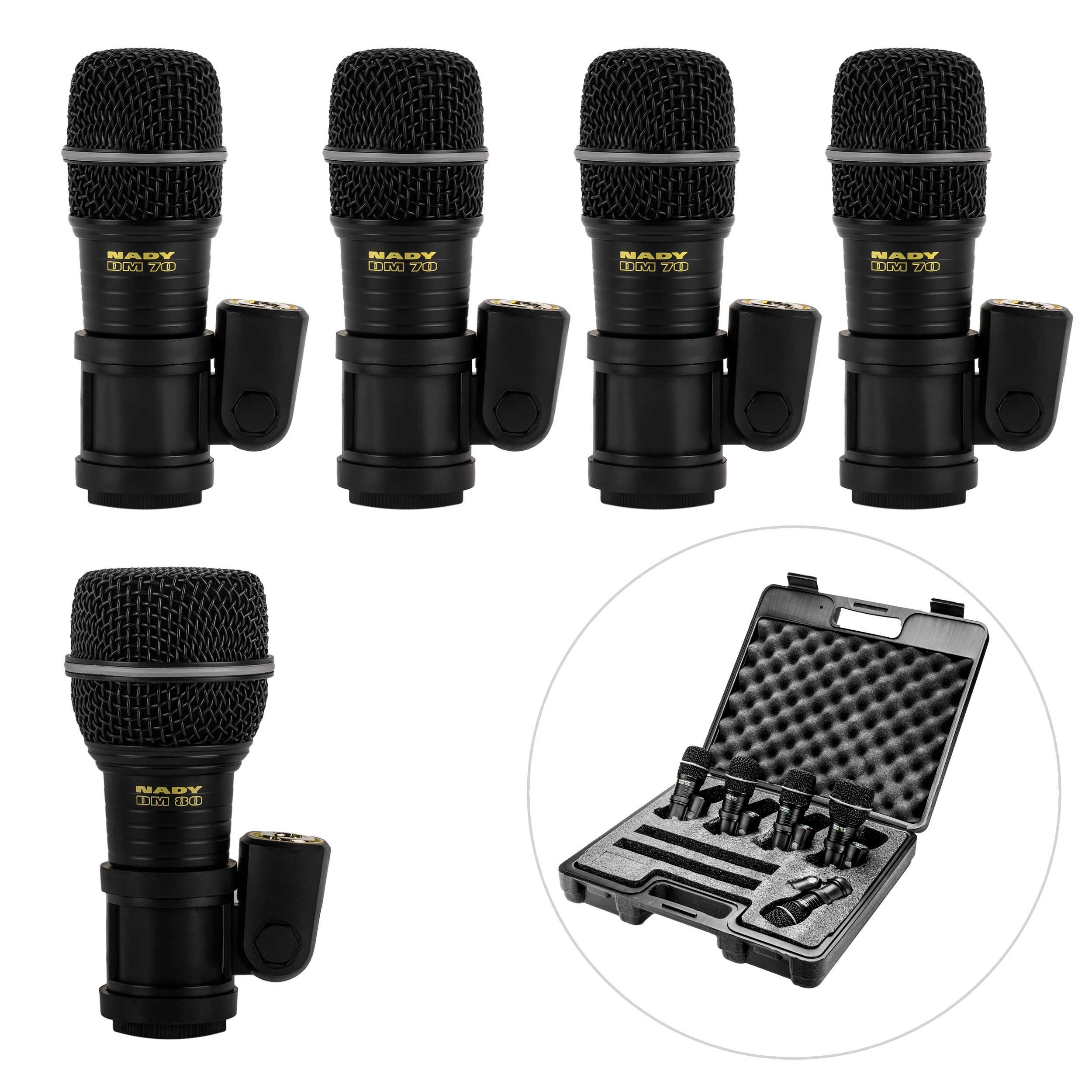 Nady DMK-5 Five Piece Drum Microphone Kit - Includes four DM-70 tom/snare microphones, one DM-80 kick drum microphone, and a foam-lined storage case by Nady