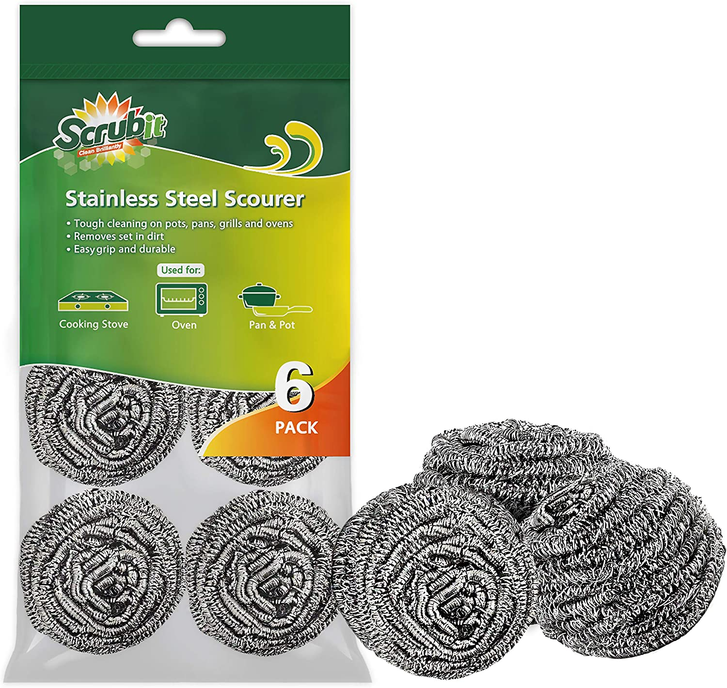 6 Pack Stainless Steel Scourers by Scrub It – Steel Wool Scrubber Pad Used for Dishes, Pots, Pans, and Ovens. Easy scouring for Tough Kitchen Cleaning.