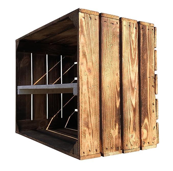 Juego de 3 gefla Naturaleza Caja de madera decorado con medio Tabla - Frontal de flambierte fruta (como estante/zapatero/estantería de caja con entre Tabla ...