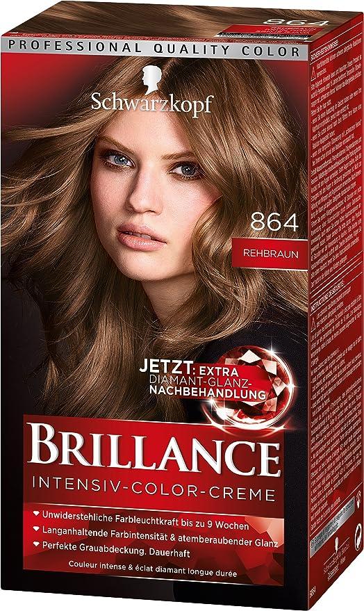 Schwarzkopf Brillance - Crema intensiva de color 864, color marrón ciervo, nivel 3, con tratamiento extra de brillo de diamante, 3 unidades (3 x 143 ...