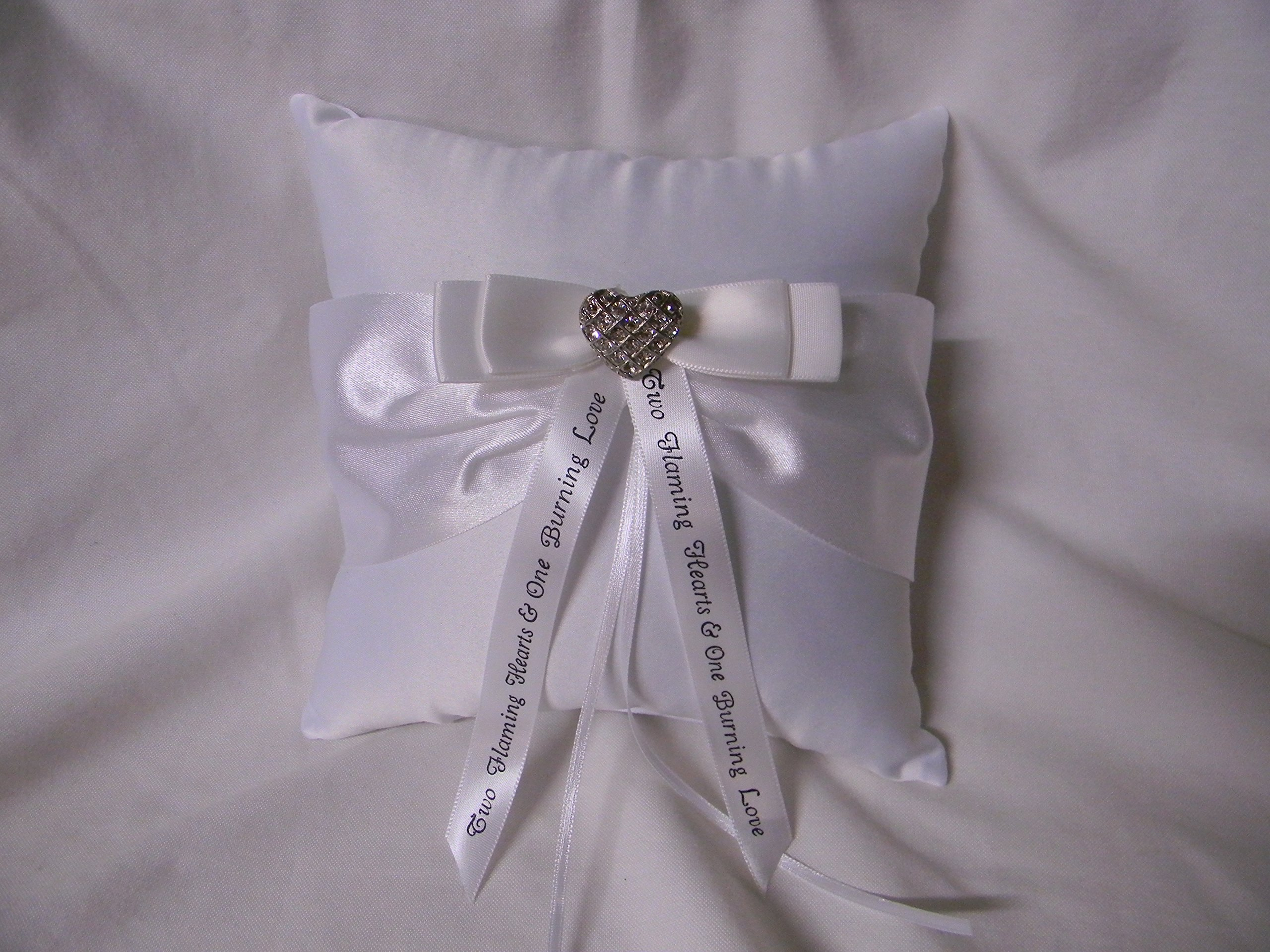 Wedding ceremony Party Ring bearer Pillow Rhinestone Heart with Message Ribbon