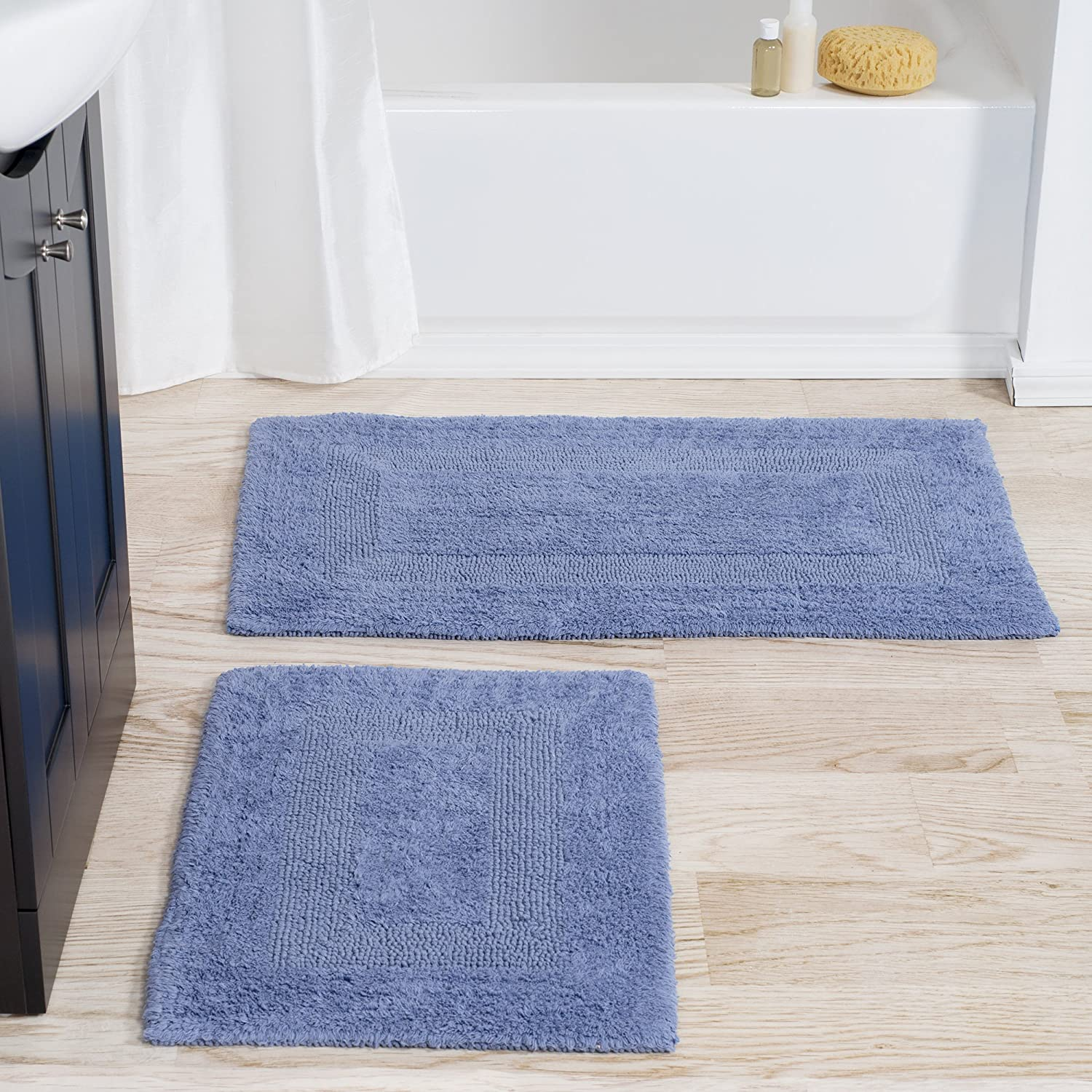 Cotton Bath Mat Set- 2 Piece 100 Percent Cotton Mats- Reversible, Soft, Absorbent and Machine Washable Bathroom Rugs By Lavish Home (Blue)