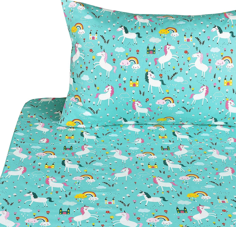 J-pinno Unicorn Latest item Happy Twin Sheet Set Gorgeous Boys Kids for Girls Childre