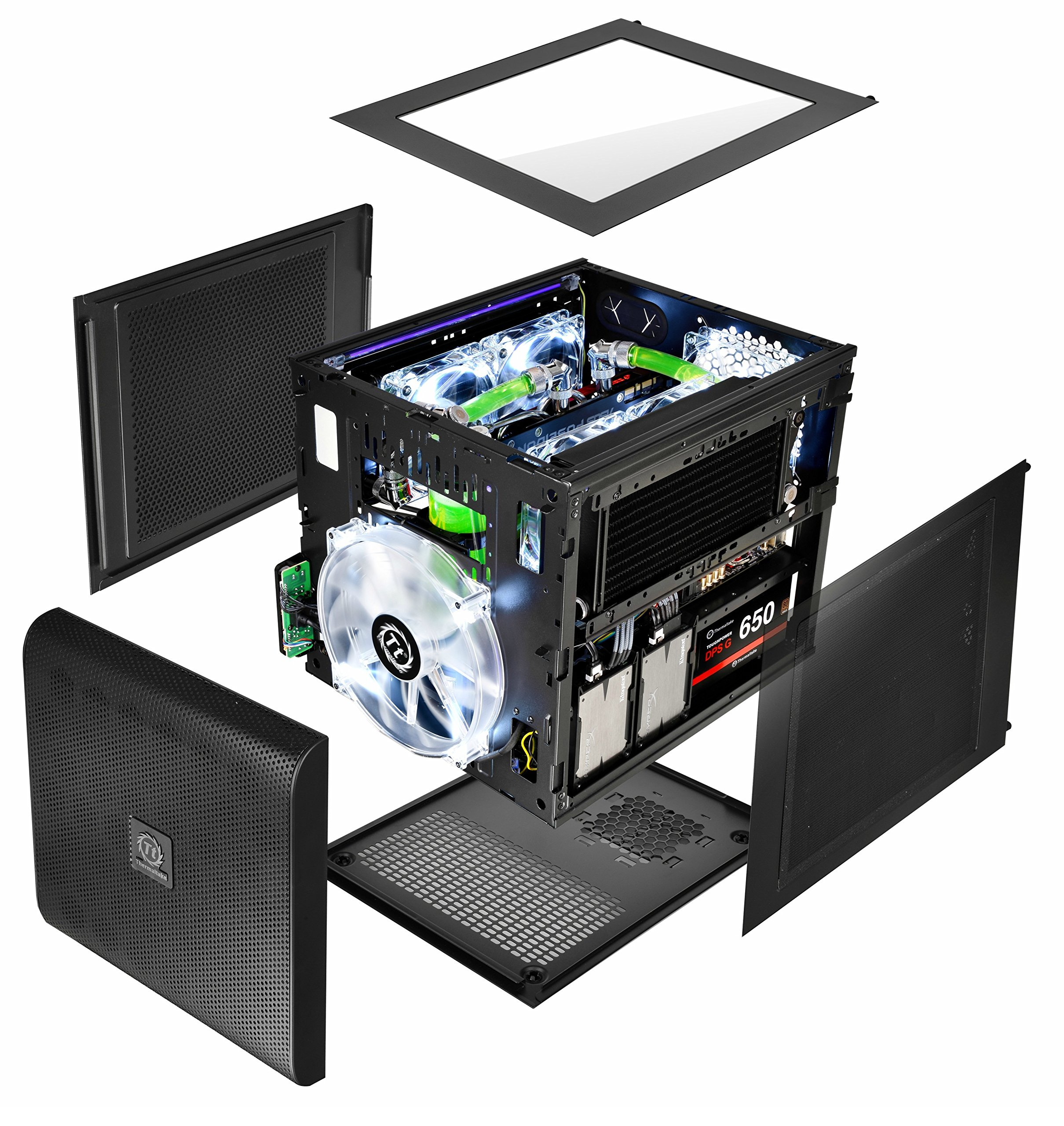 Thermaltake Core V21 SPCC Micro ATX, Mini ITX Cube Gaming Computer Case Chassis, Small Form Factor Builds, 200mm Front Fan Pre-installed, CA-1D5-00S1WN-00 by Thermaltake (Image #5)
