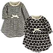 Touched by Nature Baby Girls' Organic Cotton Dress, Heart Scribbles Long Sleeve 2-Pack, 12-18 Months (18M)