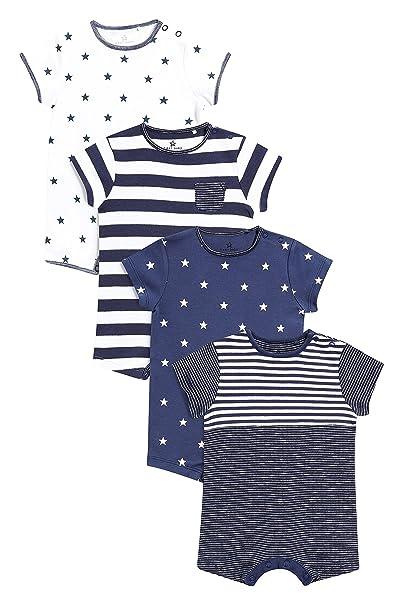next Bebé-Niños Pack De Cuatro Peleles Cortos con Estrellas Y Rayas (0 Meses - 2 Años) Azul Marino/Blanco 1.5-2 años: Amazon.es: Ropa y accesorios
