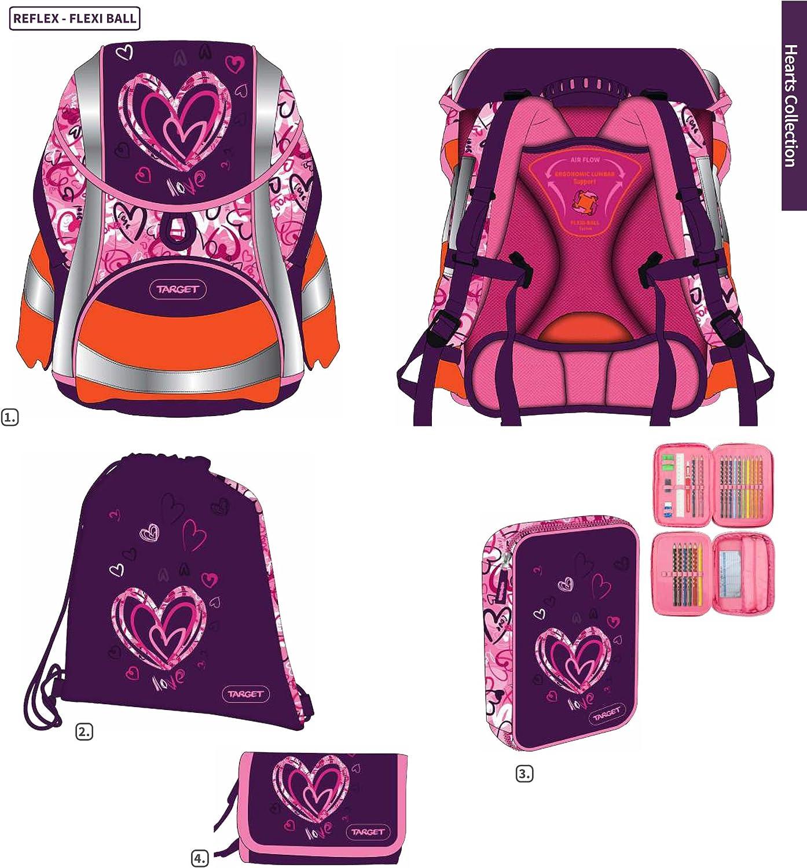 Exclusive * 6 Pcs. Heart DIN58124 Ergo School Backpack