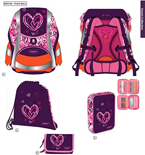 Corazón din58124 Set de accesorios escolares Ergo Mochila Escolar niña inoxidable