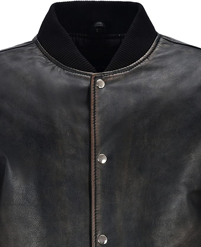 Mens Varsity Leather Jacket Black Bronze Classic Bomber Style 100/% Real Leather