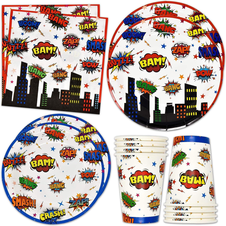 Superhero Party Supplies Tableware Set 24 9