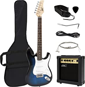 Best Choice Products 39in Full Size Beginner Electric Guitar Starter Kit w/Case, Strap, 10W Amp, Strings, Pick, Tremolo Bar (Blue)