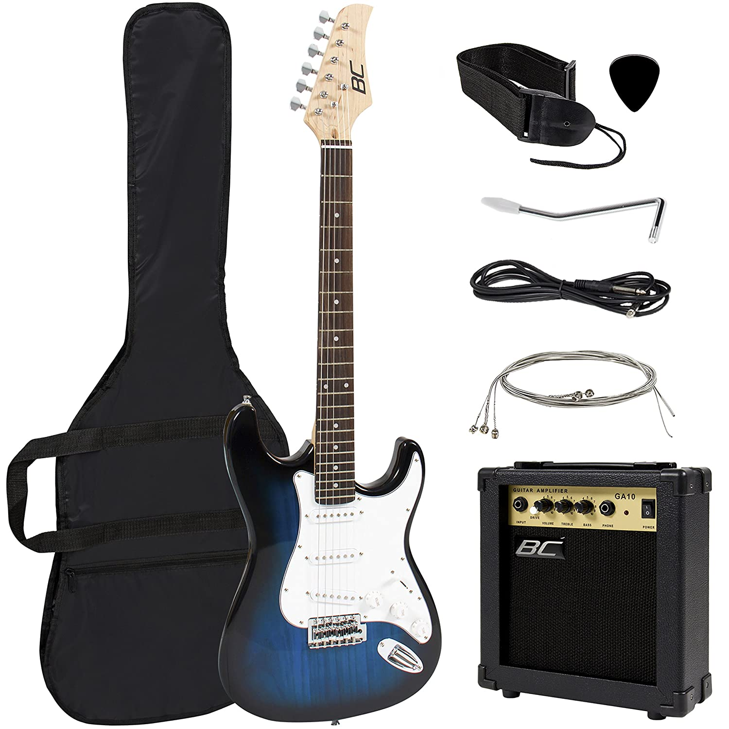 Full Size Green Electric Guitar with Amp, Case and Accessories Pack Beginner Starter Package Best Choice Products SKY2246