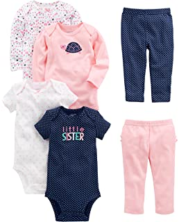 b466354b49aa Simple Joys by Carter s Baby Girls  6-Piece Bodysuits (Short and Long Sleeve