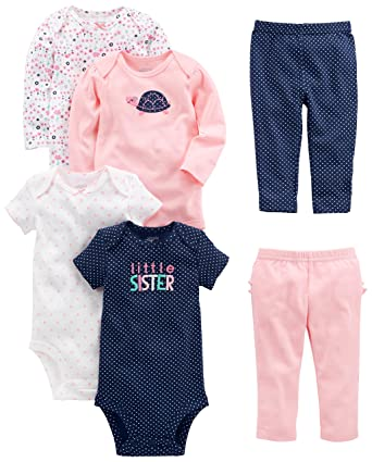 17a8a6c07f73 Amazon.com  Simple Joys by Carter s Baby Girls  6-Piece Bodysuits ...