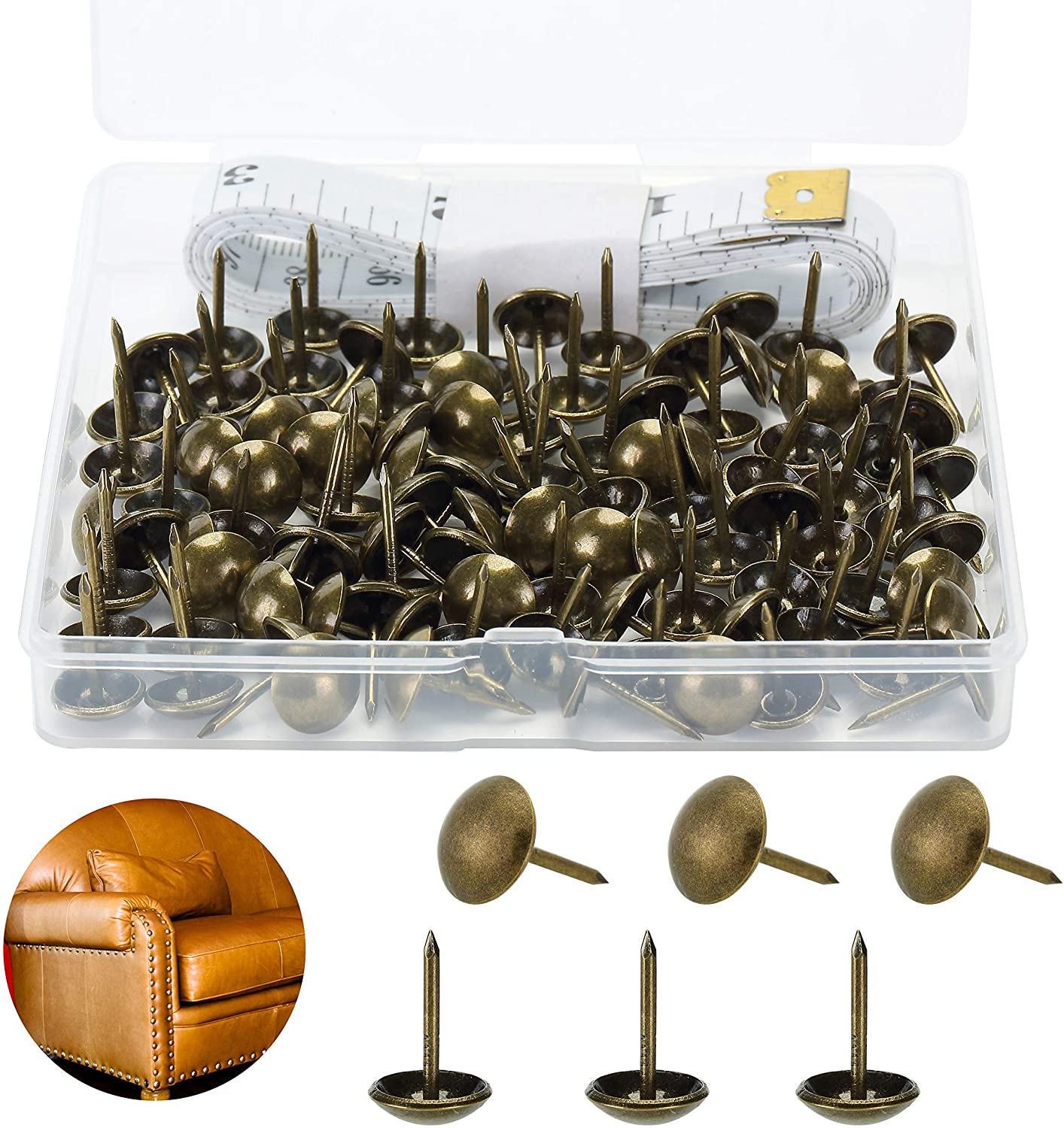 Mr. Pen- Upholstery Tacks, 100 Pack, Furniture Tacks, Decorative Nail Heads, Upholstery Tacks for Furniture, Decorative Tacks, Upholstery Pins, Upholstery Nails, Antique Furniture Brass Tacks