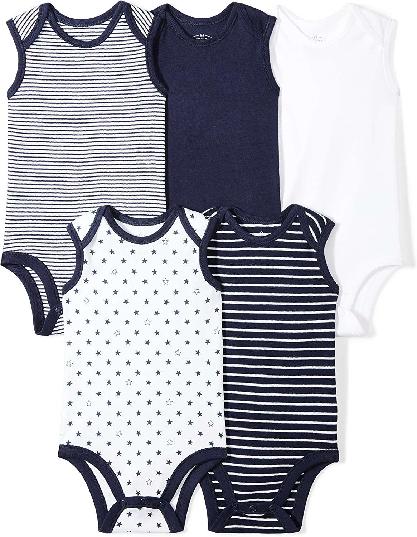 Moon and Back Baby Set of 5 Organic Sleeveless Bodysuits