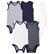 Moon and Back Baby Set of 5 Organic Sleeveless Bodysuits, Navy Sea, 24 Months