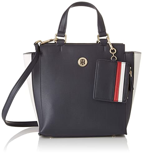 Tommy Hilfiger - Effortless Saffiano Satchel, cartera Mujer, Azul (Corporate), 12x23x21