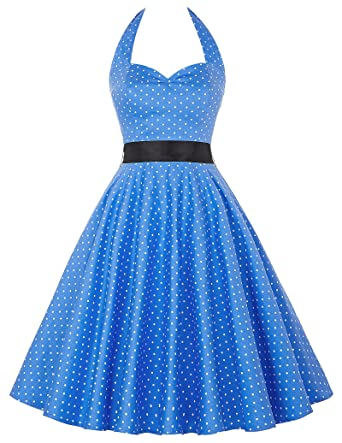 GRACE KARIN Womens Cocktail Dress Prom Dresses Rockabilly Dress Light Blue Polka Dot Dress L YF4599