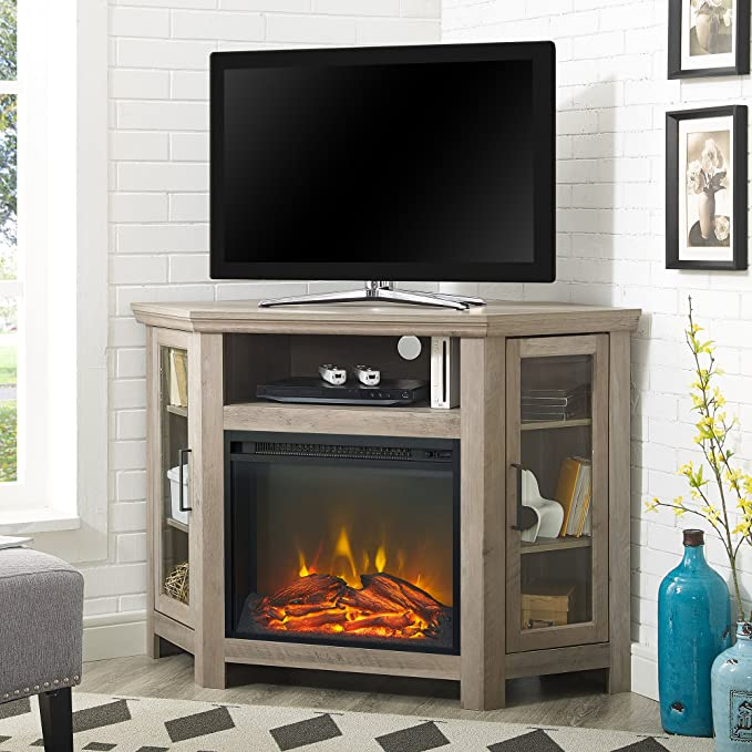 WE Furniture - Estación de TV esquinera para Chimenea, MDF, Color ...