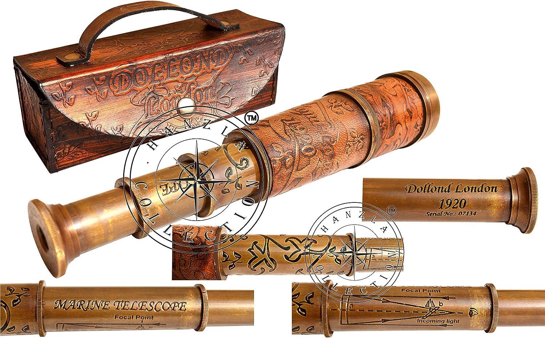 Dollond London Brass Antique Spy Glass Telescope Handmade Nautical Wooden Box