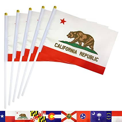 4e1ba5f43a80d TSMD California State Stick Flag 50 Pack Small Mini Hand Held CA California  Republic Flags Banner On Stick,Party Decorations for Parades,School Sports  ...