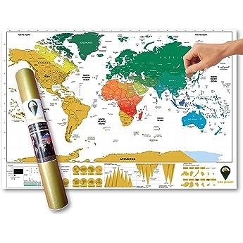 Global Walkabout - Póster de Mapa del Mundo para rascar con Fondo de Colores - Tamaño de Viaje - Países y Datos - Regalo de Viaje: Amazon.es: Hogar