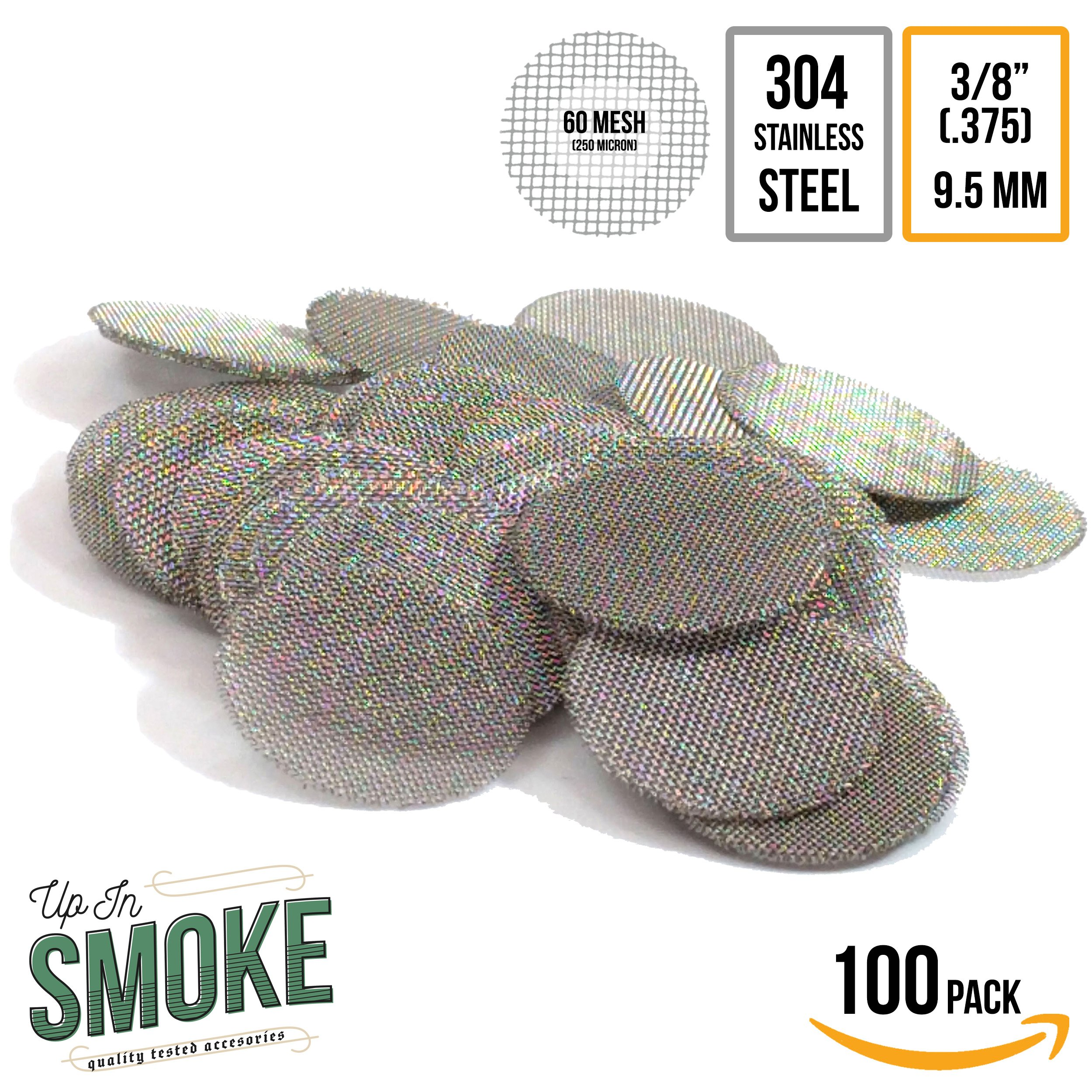 Made in the USA - 100 3/8 (.375'') 304 Stainless Steel Premium Pipe Screen Filters