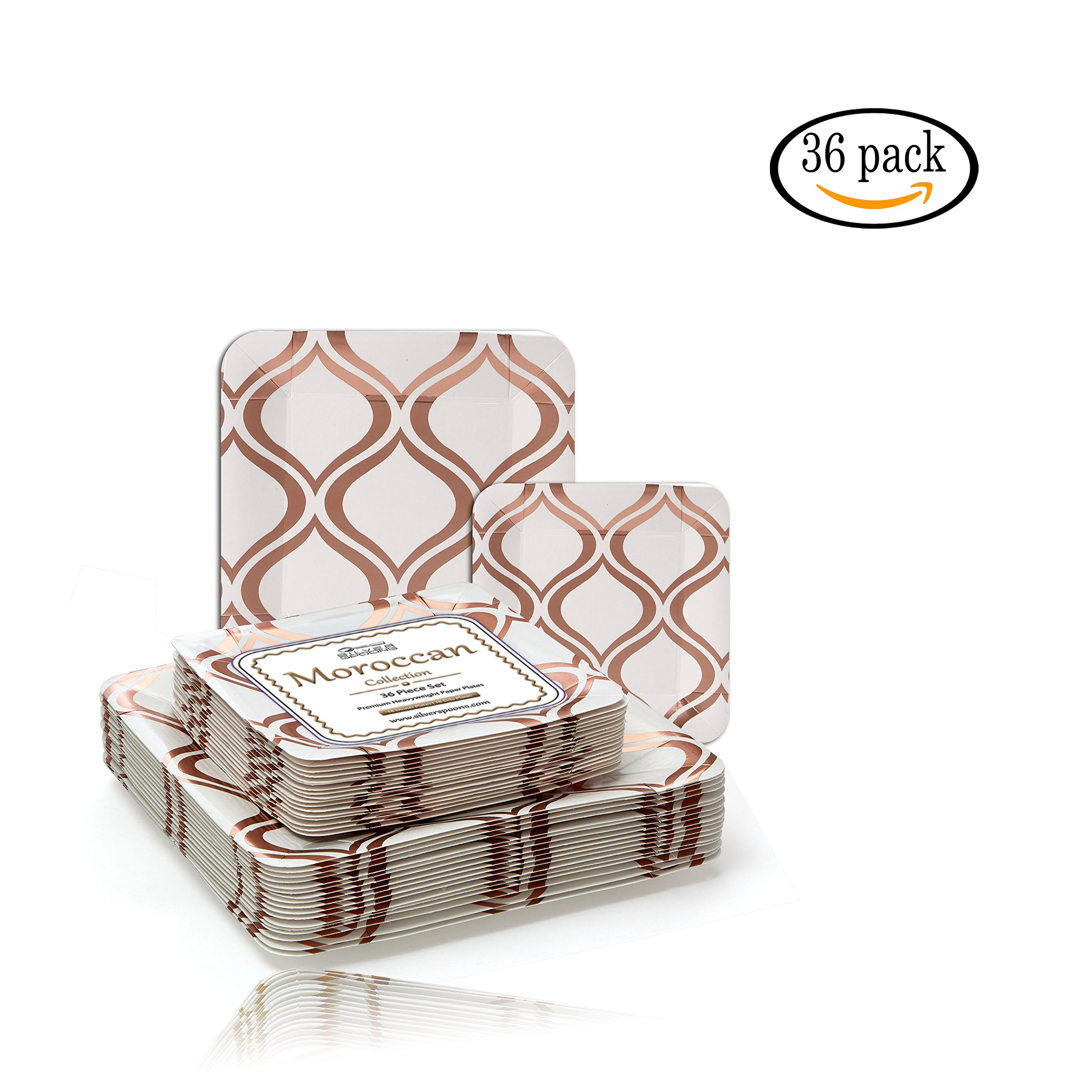 PARTY DISPOSABLE 36 PC DINNERWARE SET | 18 Dinner Plates | 18 Salad or Dessert Plates | Heavy Duty Paper Plates | for Upscale Wedding and Dining | Square Metallic Rose - Moroccan Collection