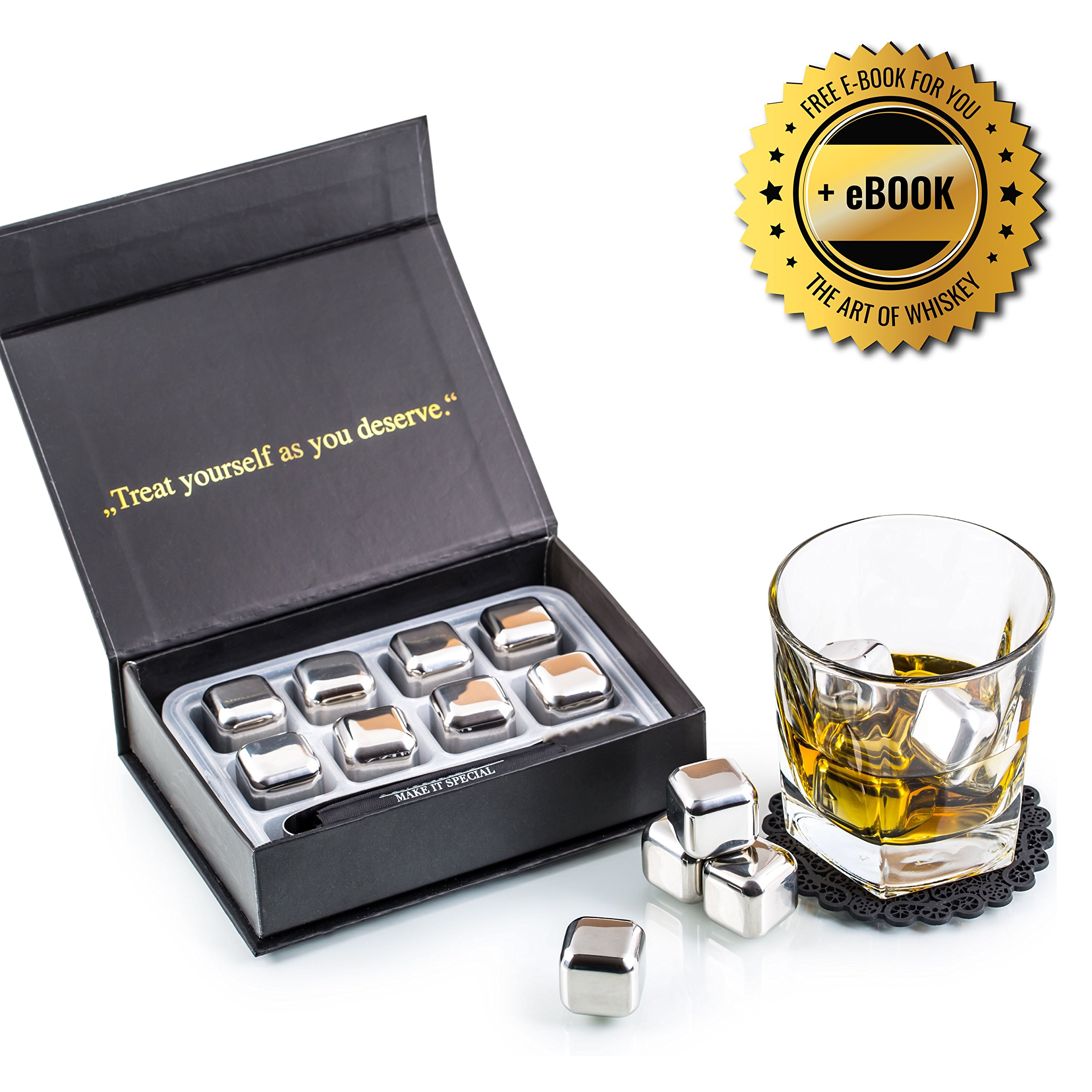Exclusive Whiskey Stones Gift Set - High Cooling Technology - Reusable Ice Cubes - Stainless Steel Whiskey Ice Cubes - Whiskey Rocks - Whiskey Gifts for Men - Best Man Gift with Coasters + Ice Tongs