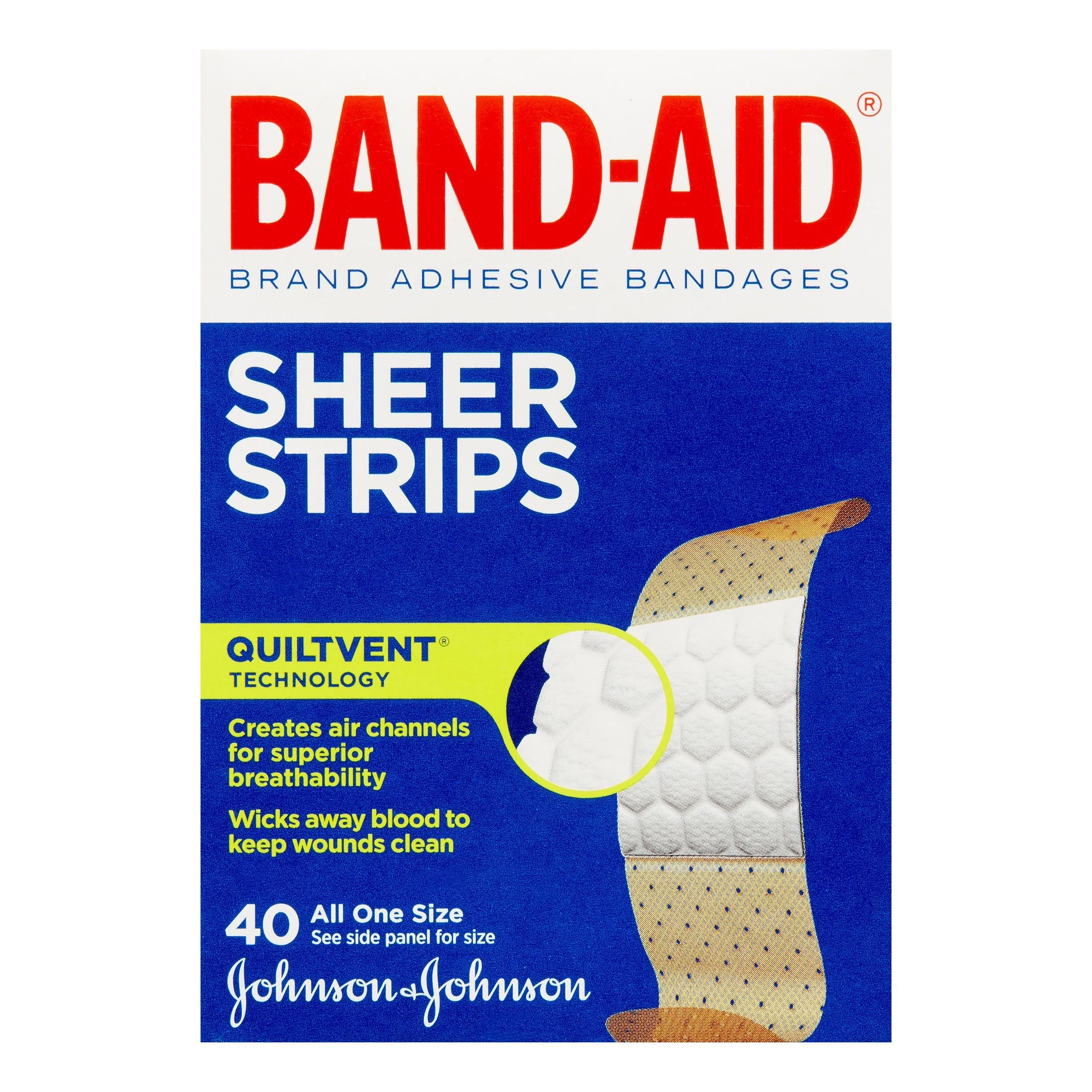 Band-Aid Brand Adhesive Bandages, Sheer Strips, Assorted, 40 Count (Pack of 4)(Packaging May Vary)