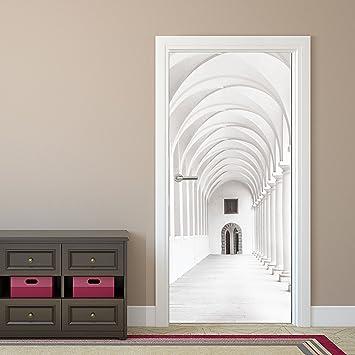 Papier peint pour porte   Couloir passage arcade   92 x 202 cm