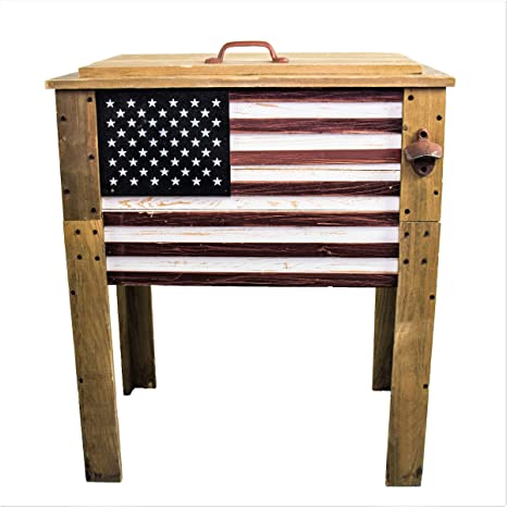 Backyard Expressions Patio Home Garden 909939 Wooden American Flag Patio Beverage Cooler For Outdoors Decorative