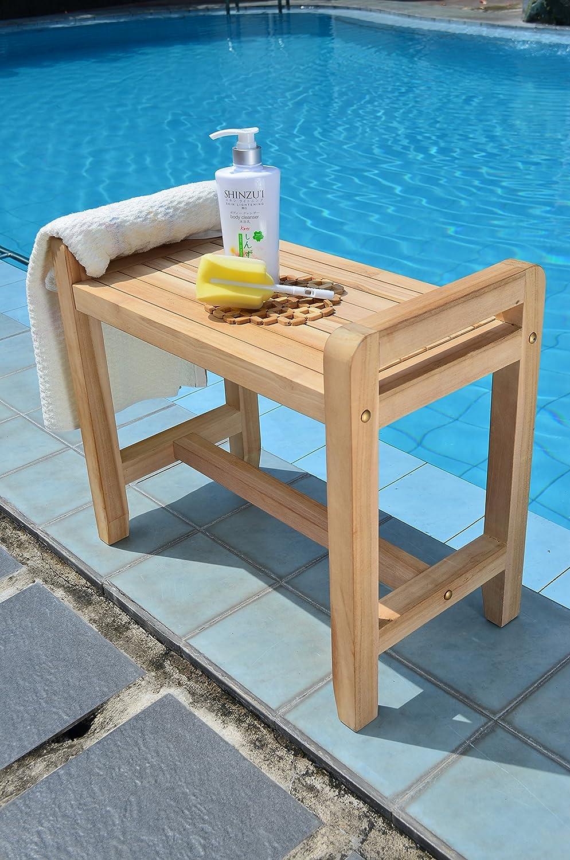 Amazon.com : Teak Bath Stool, Side Table, Shower Bench : Garden ...