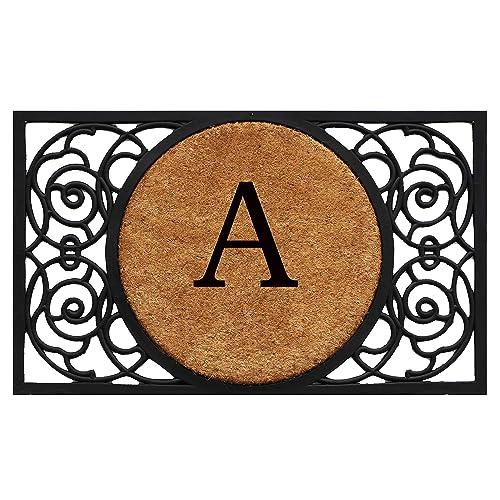 Calloway Mills 180031830A Armada Circle Monogram Doormat, 18 x 30 Letter A
