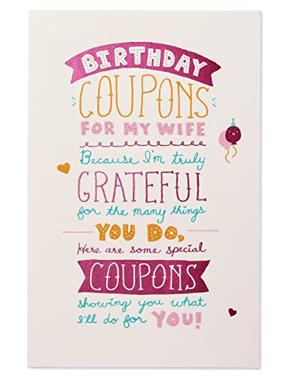 amazon com funny coupons birthday card for wife with foil office
