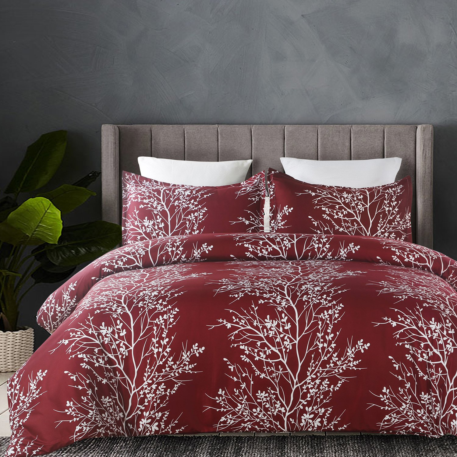 Duvet Cover Set, Tree Branch Printed Pattern Design - Burgundy Red, King Size