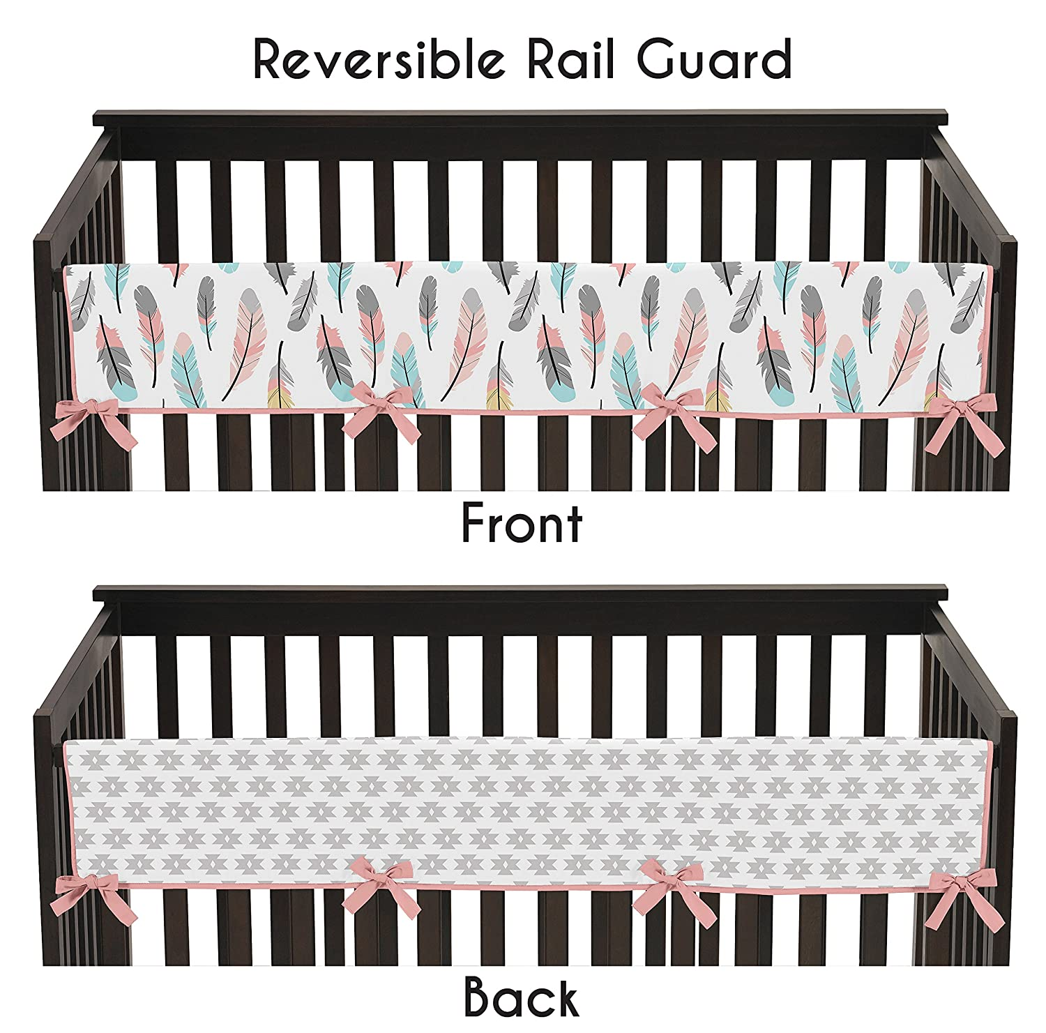 Sweet Jojo Designs Feather Collection Long Front Rail Guard Baby Teething Cover Crib Protector Wrap