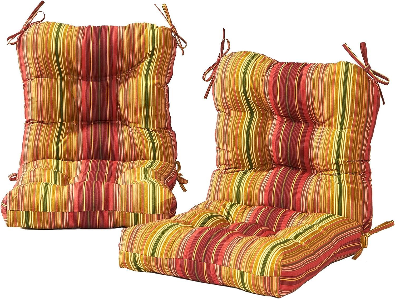 Greendale Home Fashions AZ6815S2-KINNIBARI Cinnamon Stripe Outdoor Chair Cushion (Set of 2)