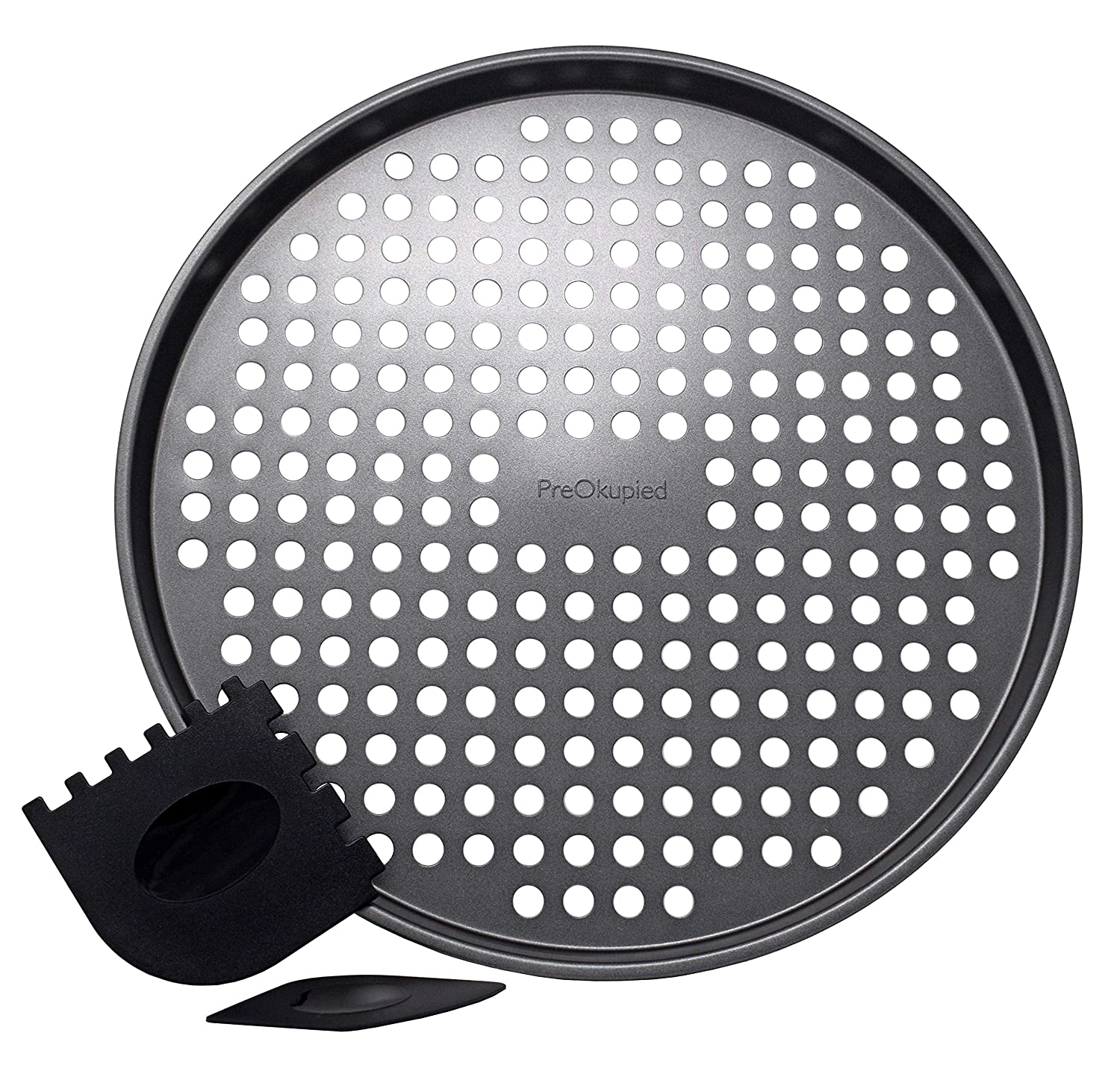 PreOkupied 12.2 Inch Perforated Pizza Pan, Dark Gray Carbon Steel with Nonstick Coating, Including 2 Black Pan Scrapers