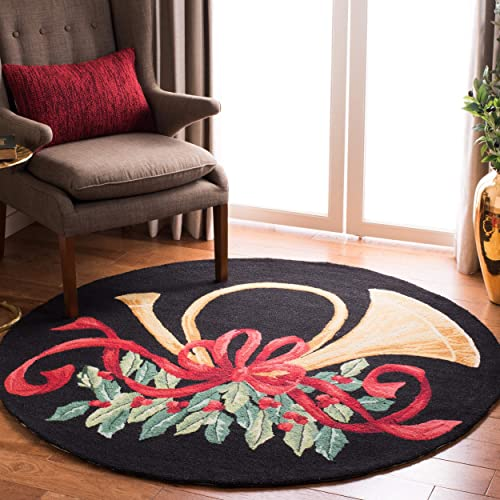 Safavieh Vintage Poster Collection VP321A Hand-Hooked Black and Multi Wool Round Area Rug, 5 feet in Diameter 5 Diameter