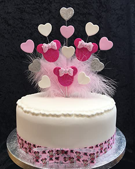 Minnie Mouse Birthday Cake Topper Pink White Silver With Hearts